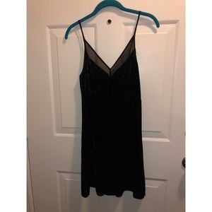 NWT Black spaghetti strap velvet dress
